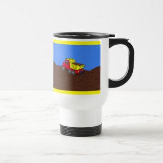 Mug De Voyage Art rouge et jaune de camion à benne basculante de