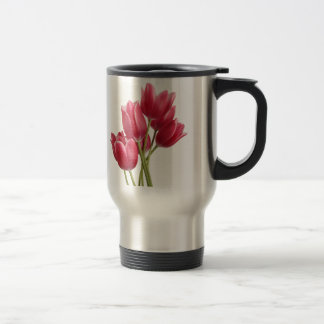 Mug De Voyage Assez dans les tulipes roses