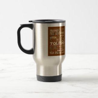 Mug De Voyage Attractions et endroits célèbres de Toledo, Ohio