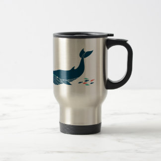 Mug De Voyage Baleine d'océan avec de petits poissons