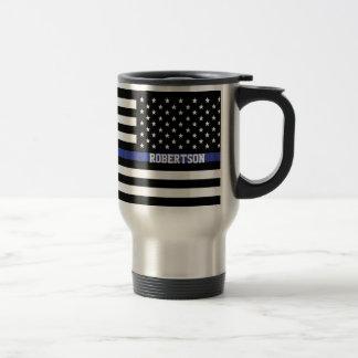 Mug De Voyage Blue Line mince - coutume personnalisée de drapeau