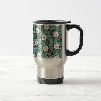 Mug De Voyage Camélia blanc sur le motif turquoise