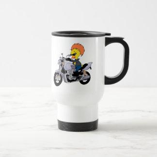 Mug De Voyage Canard de bande dessinée sur une moto fraîche