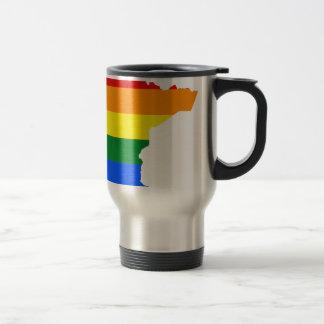 Mug De Voyage Carte de drapeau du Minnesota LGBT