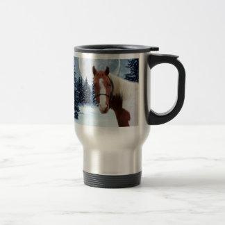 Mug De Voyage Cheval américain de peinture d'hiver