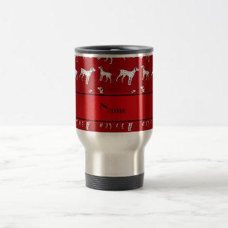 Mug De Voyage Chiens dalmatiens rouges nommés personnalisés