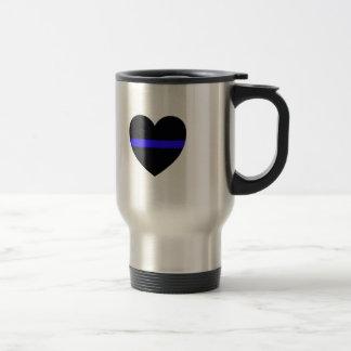 Mug De Voyage Coeur de police avec Blue Line mince