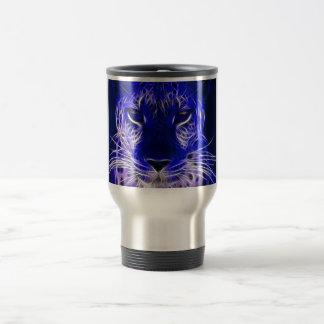 Mug De Voyage conception bleue de fractale de guépard
