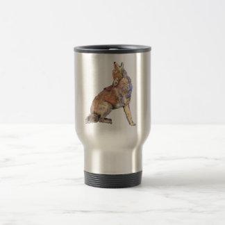 Mug De Voyage Coyote d'hurlement d'aquarelle, animal, faune de