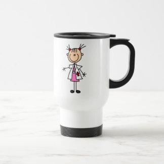 Mug De Voyage Docteur féminin Stick Figure