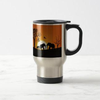 Mug De Voyage Éléphants au coucher du soleil
