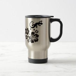 Mug De Voyage fleurs de ketmie dans le noir avec des Geckos