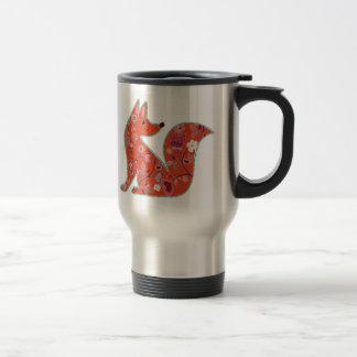 Mug De Voyage Fox de motif de fleur d'art populaire