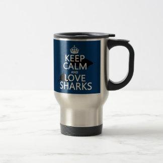 Mug De Voyage Gardez le calme et aimez les requins (les couleurs