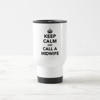 Mug De Voyage Gardez le calme et appelez une sage-femme
