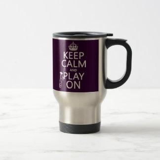 Mug De Voyage Gardez le calme et le jeu sur (trombone) (toute