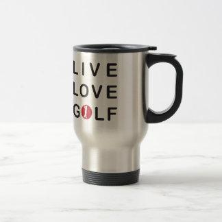 Mug De Voyage Golf vivant d'amour jouant au golf le noir rouge