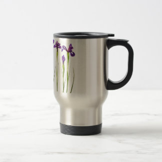 Mug De Voyage Iris pourpres d'isolement sur un arrière - plan