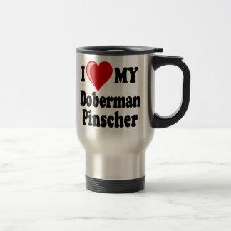 Mug De Voyage J'aime (coeur) mon chien de Pinscher de dobermann