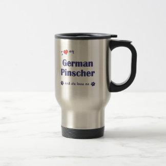 Mug De Voyage J'aime mon Pinscher allemand (le chien femelle)