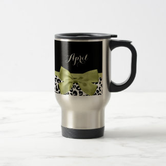 Mug De Voyage Joli arc de vert de ressort d'empreinte de léopard