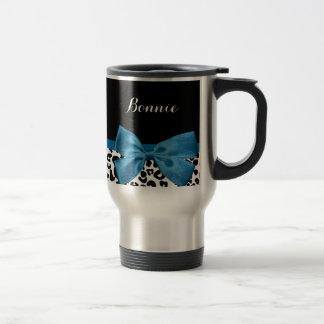 Mug De Voyage Joli ruban bleu de cobalt d'empreinte de léopard