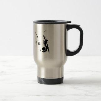 Mug De Voyage Le corgi poursuit le croquis noir et blanc d'encre