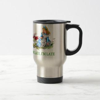 """Mug De Voyage Le lapin blanc se précipite par Alice, """"je suis"""