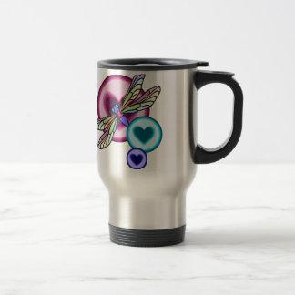 Mug De Voyage Le pastel a coloré la libellule avec rose bleu et