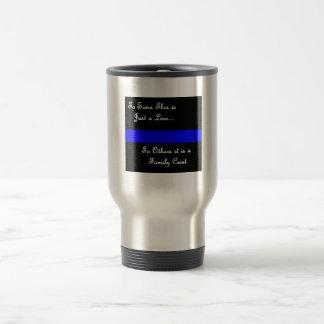 Mug De Voyage Ligne-Tasse bleue Famille-Mince de police