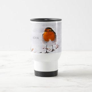 Mug De Voyage L'oiseau mignon fait sur commande de Robin dans la