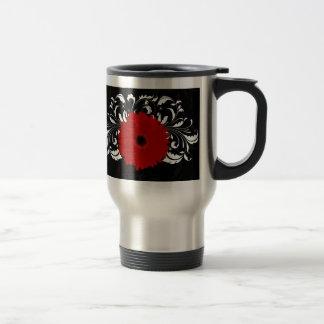 Mug De Voyage Marguerite rouge lumineuse de Gerbera sur le noir
