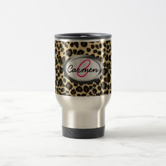 Mug De Voyage Monogramme d'empreinte de léopard