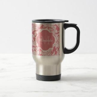 Mug De Voyage Monogramme Girly floral assez rose-clair avec le
