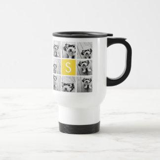Mug De Voyage Monogramme jaune et blanc de coutume de collage de