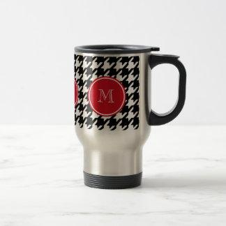 Mug De Voyage Monogramme noir et blanc de rouge de pied-de-poule
