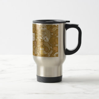 Mug De Voyage Motif beige de Paisley de hibou