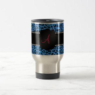 Mug De Voyage Motif bleu de léopard de monogramme
