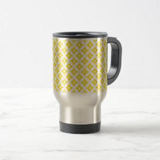 Mug De Voyage Motif de pois jaune et blanc moderne de cercle