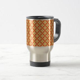 Mug De Voyage Motif de pois orange et jaune moderne de cercle