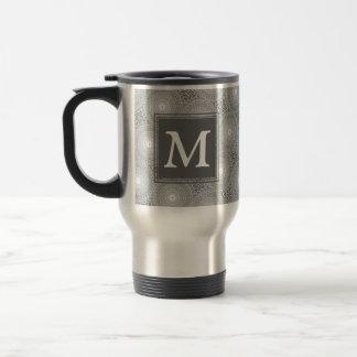 Mug De Voyage Motif gris de cercles de monogramme