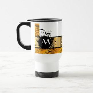 Mug De Voyage Motif jaune d'or de monogramme
