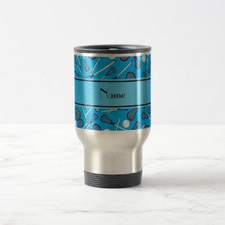 Mug De Voyage Motif nommé personnalisé de lacrosse de bleu de