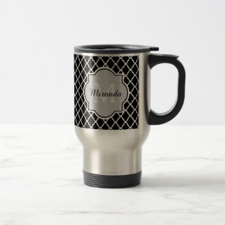 Mug De Voyage Nom décoré d'un monogramme noir et blanc moderne