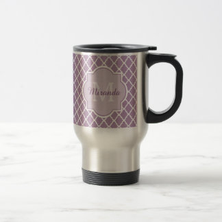 Mug De Voyage Nom décoré d'un monogramme pourpre de Quatrefoil