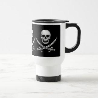 Mug De Voyage Os croisés vitreux de crâne et d'épée de pirate