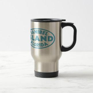 Mug De Voyage Ovale bleu de la Floride d'île de Sanibel