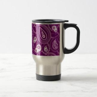 Mug De Voyage Paisley pourpre et blanc