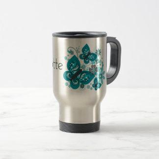 Mug De Voyage Papillons et voyage de fleurs/tasse de banlieusard