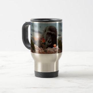 Mug De Voyage Partageant le déjeuner avec une singe,